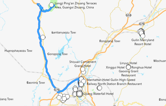 carte de Guilin à Longji