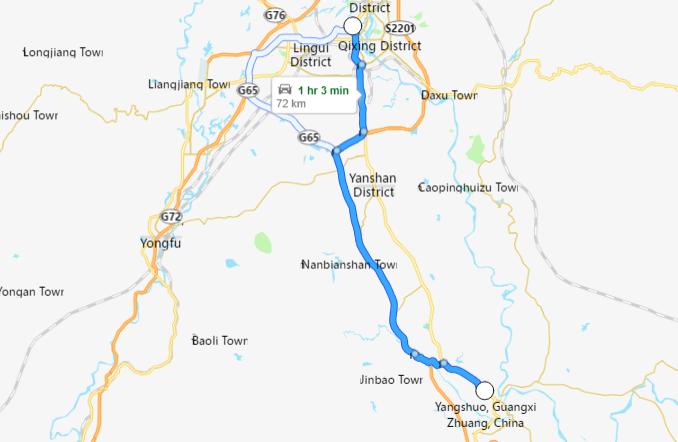 carte de Guilin à Yangshuo