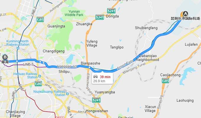 aéroport de Kunming en centre ville