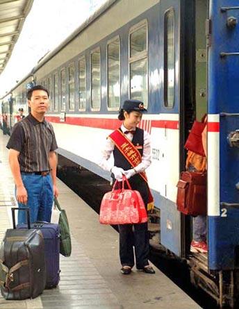 boarding train at platform